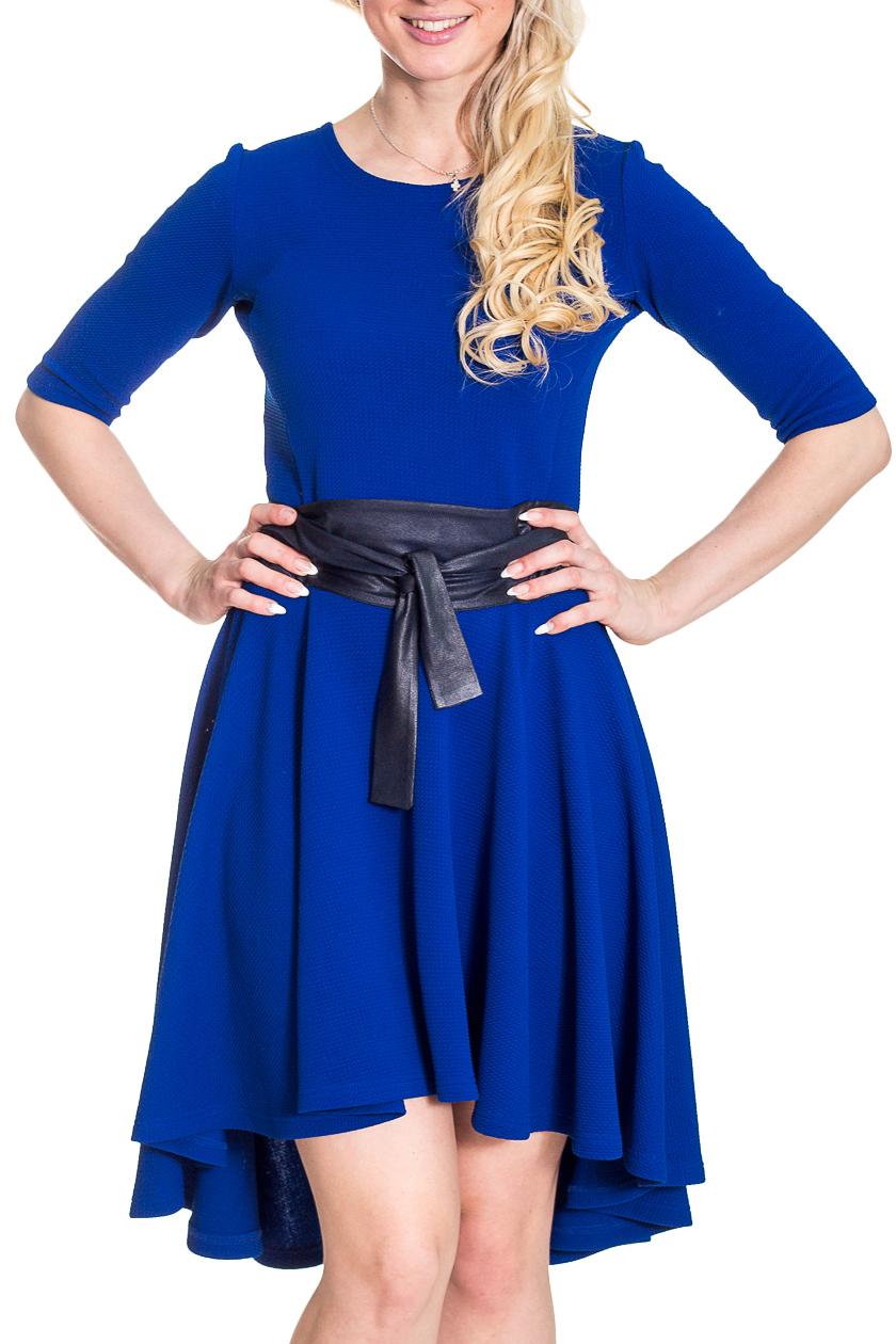 ПлатьеПлатья<br>Однотонное платье с круглой горловиной и рукавами 3/4. Модель выполнена из приятного трикотажа. Отличный выбор для любого случая.  Платье без пояса.  Цвет: синий  Рост девушки-фотомодели 170 см<br><br>Горловина: С- горловина<br>По длине: До колена<br>По материалу: Трикотаж<br>По рисунку: Однотонные<br>По силуэту: Полуприталенные<br>По стилю: Повседневный стиль<br>По форме: Платье - трапеция<br>По элементам: С патами,Со складками,Со шлейфом<br>Рукав: Рукав три четверти<br>По сезону: Осень,Весна,Зима<br>Размер : 44,46,48,54<br>Материал: Трикотаж<br>Количество в наличии: 4