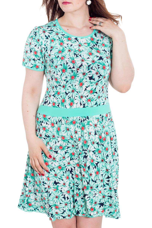 ПлатьеПлатья<br>Яркое летнее платье. Модель выполнена из приятного материала. Отличный выбор для повседневного гардероба.  Цвет: мятный, белый, синий и др.  Рост девушки-фотомодели 180 см.<br><br>Горловина: С- горловина<br>По длине: До колена<br>По материалу: Вискоза,Трикотаж<br>По образу: Город,Свидание<br>По рисунку: Растительные мотивы,С принтом,Цветные,Цветочные<br>По силуэту: Приталенные<br>По стилю: Повседневный стиль<br>По форме: Платье - трапеция<br>Рукав: Короткий рукав<br>По сезону: Лето<br>Размер : 48,50,52,54,56,58<br>Материал: Холодное масло<br>Количество в наличии: 10