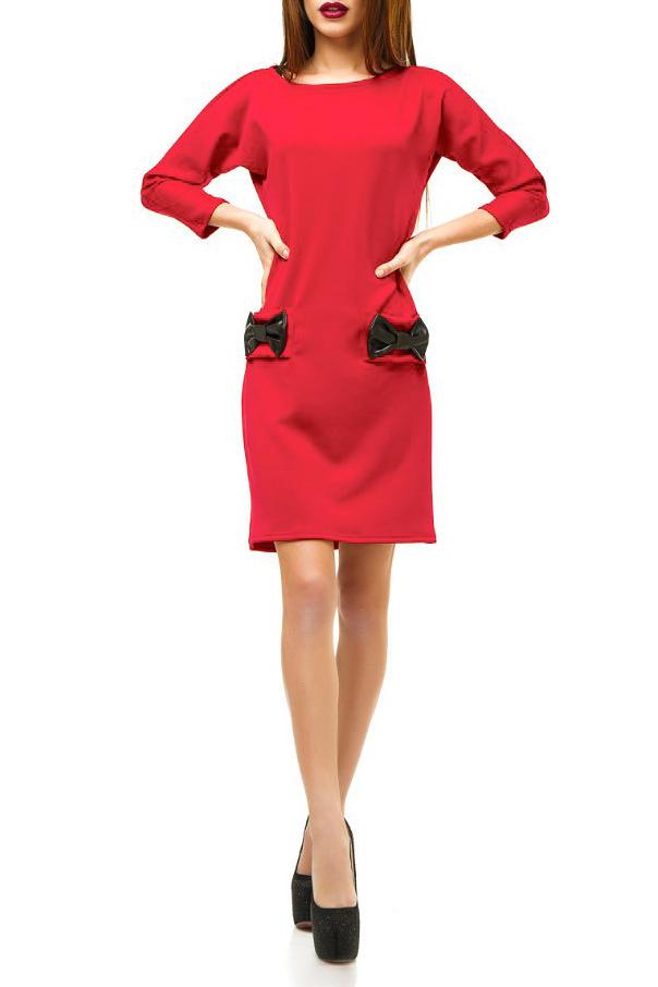 ПлатьеПлатья<br>Молодёжное платье из плотного дайвинга – хит продаж. В одной модели счастливо соединились уникальные качества новой ткани и дизайнерские находки.  Прямой, слегка приталенный и зауженный книзу силуэт создаёт классический образ сдержанной женственности и элегантности. Длинный узкий и одновременно цельнокроеный рукав 3/4 вместе с горловиной в форме лодочки усиливают этот эффект. Длина платье 2/3 до колена придаёт ему стильность и изысканность.  Этот тщательно выверенный, собранный по крупицам классический облик оказывается буквально взорванным всего лишь одной, единственной деталью крупными бабочками-бантами из экокожи. Они располагаются на линии бёдер, придавая контраст. Вещь сразу приобретает оригинальность, становится эксклюзивной.   Цвет: красный.  Ростовка изделия 170 см<br><br>Горловина: Лодочка<br>По длине: До колена<br>По материалу: Трикотаж<br>По рисунку: Однотонные<br>По силуэту: Полуприталенные<br>По стилю: Молодежный стиль,Нарядный стиль,Повседневный стиль<br>По форме: Платье - футляр<br>По элементам: С декором,С карманами,С кожаными вставками<br>Рукав: Рукав три четверти<br>По сезону: Осень,Весна<br>Размер : 42,46<br>Материал: Трикотаж<br>Количество в наличии: 2