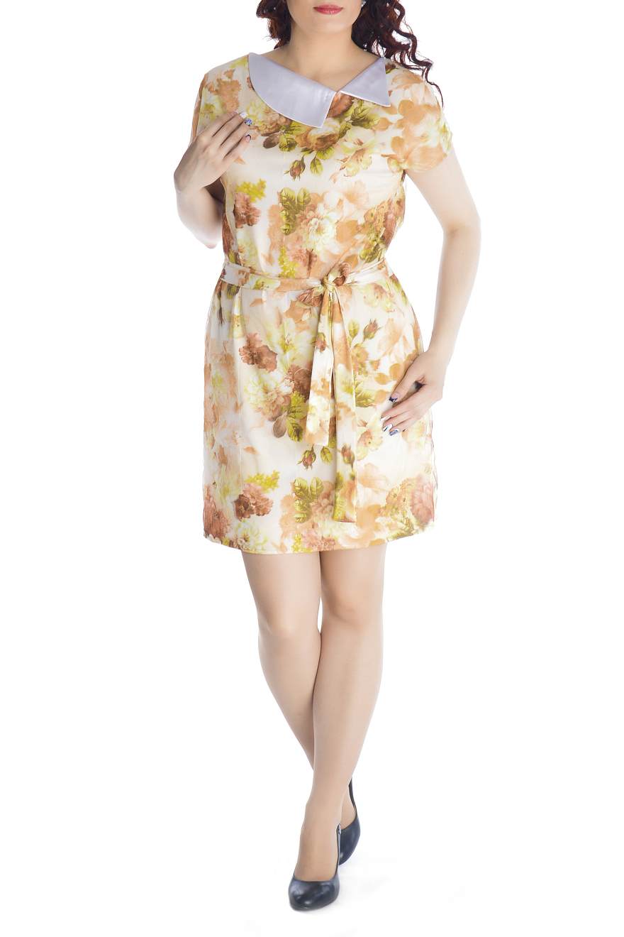 ПлатьеПлатья<br>Очаровательное платье прямого силуэта, выполнено из высококачественного вискозного трикотажного полотна с модным 3D эффектом. Платье двухслойное, состоит из вискозной ткани и сетки, с точностью, повторяющей рисунок нижней ткани. При движении сетка колеблется, за счет чего и возникает эффект объемности и глубины принта. Платье прямого силуэта с цельнокроеным рукавом и карманами в боковых швах. Отлетной воротник выполнен из декоративной ткани. Удачно подобранная ткань не мнется, не деформируется при стирке, а значит это платье прослужит вам не один сезон. Красочное, обращающее на себя внимание платье с эффектом 3D обязательно должно быть в гардеробе каждой модницы.  Платье без пояса.  Длина изделия 90-95 см.  В изделии использованы цвета: желтый, бежевый и др.  Рост девушки-фотомодели 170 см<br><br>Воротник: Отложной<br>По длине: До колена<br>По материалу: Гипюровая сетка,Трикотаж<br>По образу: Город,Свидание<br>По рисунку: Растительные мотивы,С принтом,Цветные,Цветочные<br>По силуэту: Полуприталенные<br>По стилю: Повседневный стиль<br>По форме: Платье - футляр<br>По элементам: С карманами<br>Рукав: Короткий рукав<br>По сезону: Лето<br>Размер : 44,46,48,50,52<br>Материал: Холодное масло + Гипюровая сетка<br>Количество в наличии: 5
