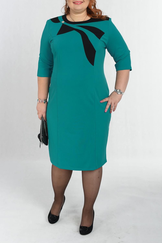 ПлатьеПлатья<br>Красивое платье приталенного силуэта. Модель выполнена из приятного материала. Отличный выбор для любого случая.  В изделии использованы цвета: бирюзовый, черный  Параметры размеров: 44 размер - обхват груди 84 см., обхват талии 72 см., обхват бедер 97 см. 46 размер - обхват груди 92 см., обхват талии 76 см., обхват бедер 100 см. 48 размер - обхват груди 96 см., обхват талии 80 см., обхват бедер 103 см. 50 размер - обхват груди 100 см., обхват талии 84 см., обхват бедер 106 см. 52 размер - обхват груди 104 см., обхват талии 88 см., обхват бедер 109 см. 54 размер - обхват груди 110 см., обхват талии 94,5 см., обхват бедер 114 см. 56 размер - обхват груди 116 см., обхват талии 101 см., обхват бедер 119 см. 58 размер - обхват груди 122 см., обхват талии 107,5 см., обхват бедер 124 см. 60 размер - обхват груди 128 см., обхват талии 114 см., обхват бедер 129 см.  Ростовка изделия 168 см.<br><br>Горловина: С- горловина<br>По длине: Ниже колена<br>По материалу: Вискоза,Трикотаж<br>По образу: Город,Свидание<br>По рисунку: Цветные<br>По силуэту: Приталенные<br>По стилю: Кэжуал,Повседневный стиль<br>По форме: Платье - футляр<br>По элементам: С декором<br>Рукав: Рукав три четверти<br>По сезону: Осень,Весна,Зима<br>Размер : 54<br>Материал: Трикотаж<br>Количество в наличии: 1