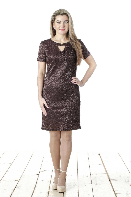 ПлатьеПлатья<br>Нарядное женское платье с круглой горловиной, декоративной капелькой и короткими рукавами. Модель выполнена из фактурного гипюра. Отличный выбор для любого торжества.  Цвет: коричневый  Длина изделия 88 см  Длина рукава 20 см  Рост девушки-фотомодели 163 см<br><br>Горловина: С- горловина<br>По длине: До колена<br>По материалу: Вискоза,Гипюр,Тканевые<br>По образу: Выход в свет,Город,Свидание<br>По рисунку: Однотонные<br>По сезону: Весна,Всесезон,Зима,Лето,Осень<br>По силуэту: Полуприталенные<br>По стилю: Нарядный стиль,Повседневный стиль<br>По элементам: С декором,С отделочной фурнитурой<br>Рукав: Короткий рукав<br>Размер : 44,46,48,50,52,54,56<br>Материал: Гипюр<br>Количество в наличии: 4