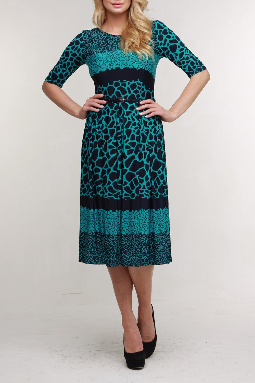 ПлатьеПлатья<br>Великолепное платье длиной миди с широкой юбкой, имеющей цветной рисунок — прекрасный выбор для праздничного вечера. Горловина круглая, рукава до локтя. Платье с поясом.  В изделии исползованы цвета: темно-синий, бирюзовый  Рост девушки-фотомодели 176 см.<br><br>Горловина: С- горловина<br>По длине: Миди,Ниже колена<br>По материалу: Трикотаж<br>По рисунку: С принтом,Цветные<br>По силуэту: Приталенные<br>По стилю: Повседневный стиль<br>По форме: Платье - трапеция<br>По элементам: С поясом<br>Рукав: До локтя<br>По сезону: Осень,Весна<br>Размер : 44,46,50<br>Материал: Холодное масло<br>Количество в наличии: 3