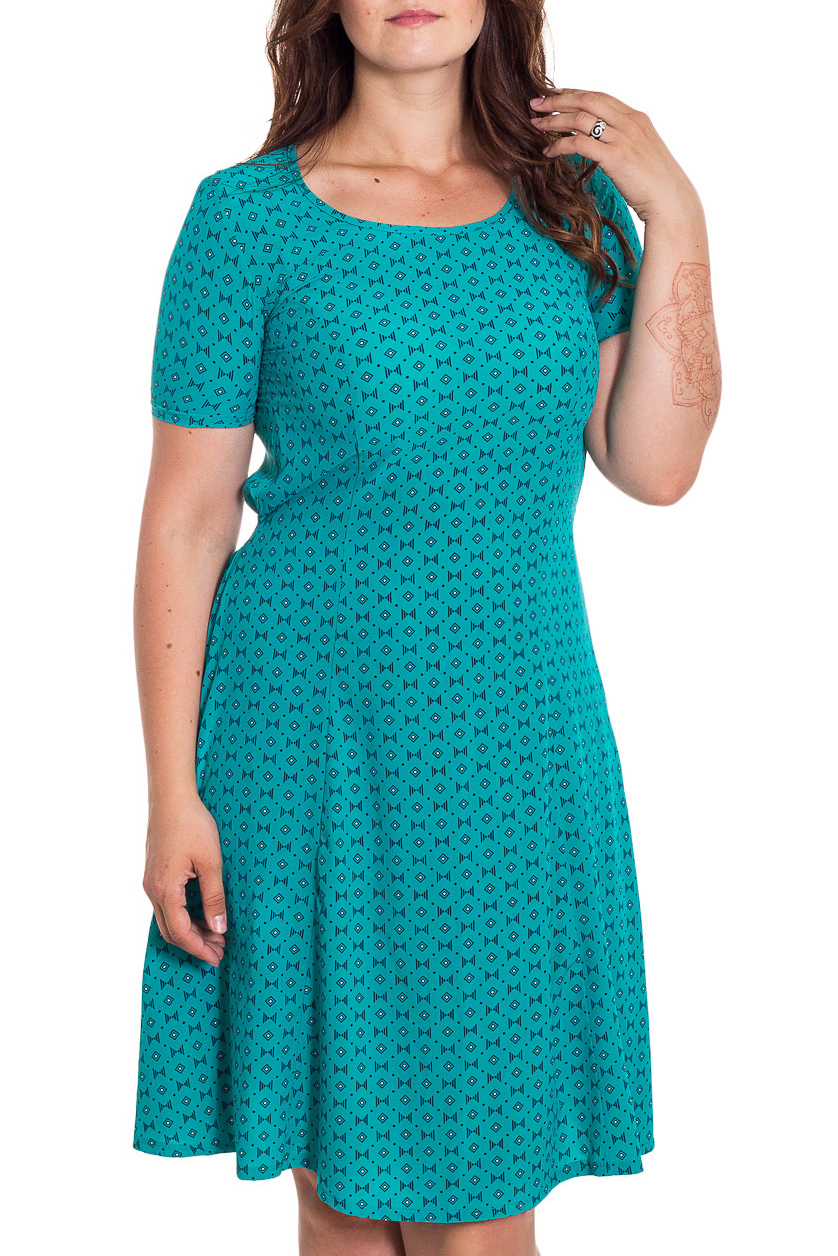 ПлатьеПлатья<br>Красивое платье с круглой горловиной и короткими рукавами. Модель выполнена из приятного материала. Отличный выбор для любого случая.   В изделии использованы цвета: бирюзовый, синий  Рост девушки-фотомодели 180 см<br><br>Горловина: С- горловина<br>По длине: До колена<br>По материалу: Вискоза,Тканевые<br>По рисунку: С принтом,Цветные<br>По сезону: Весна,Осень,Лето<br>По силуэту: Полуприталенные<br>По стилю: Повседневный стиль<br>По форме: Платье - трапеция<br>Рукав: Короткий рукав<br>Размер : 48,50,54,56<br>Материал: Плательная ткань<br>Количество в наличии: 4