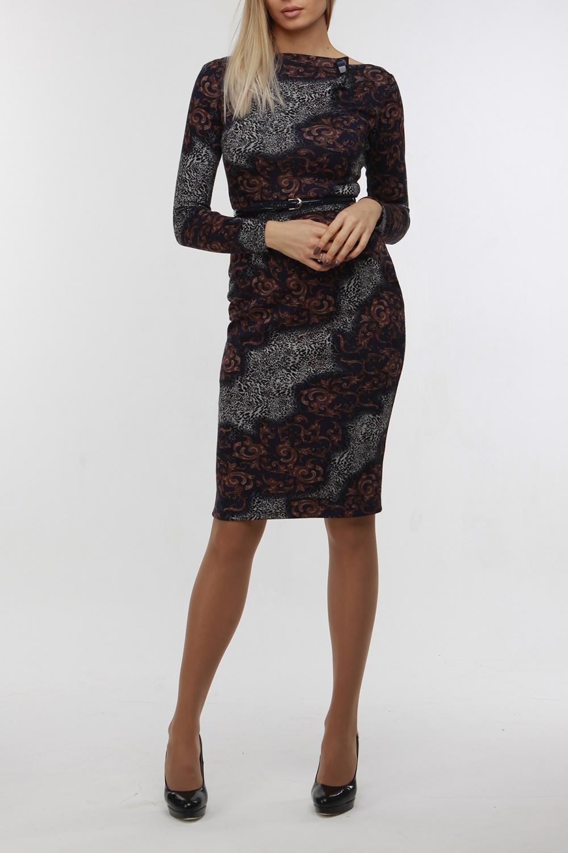 ПлатьеПлатья<br>Красивое платье с элегантной горловиной и длинными рукавами. Модель выполнена из приятного трикотажа. Отличный выбор для любого случая. Платье с поясом.  В изделии исползованы цвета: темно-синий, коричневый и др.  Рост девушки-фотомодели 176 см.<br><br>Горловина: Лодочка<br>По длине: Ниже колена<br>По материалу: Трикотаж<br>По рисунку: С принтом,Цветные<br>По сезону: Весна,Осень,Зима<br>По силуэту: Приталенные<br>По стилю: Повседневный стиль<br>По форме: Платье - футляр<br>Рукав: Длинный рукав<br>По элементам: С поясом<br>Размер : 44<br>Материал: Трикотаж<br>Количество в наличии: 1