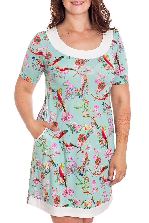 ПлатьеПлатья<br>Красивое платье с круглой горловиной и короткими рукавами. Модель выполнена из приятного материала. Отличный выбор для любого случая.   В изделии использованы цвета: мятный, белый, розовый и др.  Рост девушки-фотомодели 180 см<br><br>Горловина: С- горловина<br>По длине: До колена<br>По материалу: Вискоза,Трикотаж<br>По образу: Город,Свидание<br>По рисунку: Животные мотивы,С принтом,Цветные<br>По силуэту: Полуприталенные<br>По стилю: Повседневный стиль<br>По форме: Платье - футляр<br>Рукав: Короткий рукав<br>По сезону: Лето<br>Размер : 46,48,52,54<br>Материал: Холодное масло<br>Количество в наличии: 4
