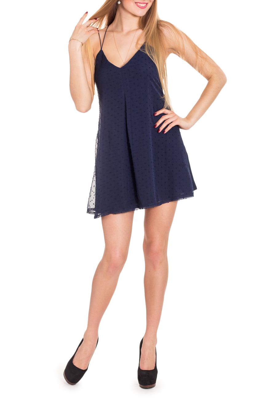 ПлатьеПлатья<br>Платье-сарафан на тонких бретелях, очень короткое, расширенное книзу. Модель напоминает нижнюю женскую сорочку-комбинацию или прилегающий сарафан на лямочках. Оно может выполнить функцию как вечернего туалета, так и повседневного платья для прогулки.  Цвет: синий  Рост девушки-фотомодели 170 см.<br><br>По длине: До колена,Мини<br>По материалу: Шифон<br>По образу: Свидание,Клуб<br>По рисунку: Однотонные,Фактурный рисунок,В горошек<br>По сезону: Весна,Зима,Лето,Осень,Всесезон<br>По стилю: Нарядный стиль,Молодежный стиль<br>По форме: Платье - трапеция<br>По элементам: С открытой спиной,С открытыми плечами<br>Рукав: Без рукавов<br>По силуэту: Свободные<br>Размер : 42,44,46<br>Материал: Шифон<br>Количество в наличии: 3