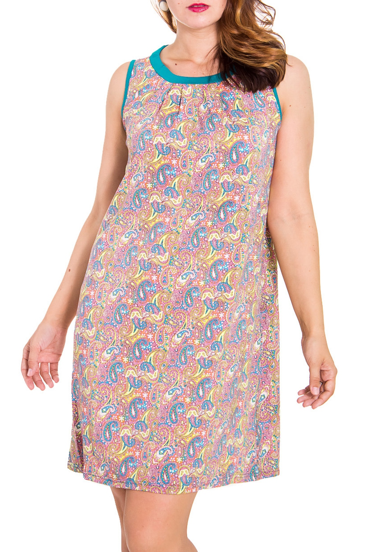 ПлатьеПлатья<br>Женское домашнее платье без рукавов. Домашняя одежда, прежде всего, должна быть удобной, практичной и красивой. В платье Вы будете чувствовать себя комфортно, особенно, по вечерам после трудового дня.  Цвет: розовый и др.  Рост девушки-фотомодели 180 см<br><br>Горловина: С- горловина<br>По материалу: Вискоза,Трикотаж<br>По рисунку: Растительные мотивы,Цветные,Цветочные,С принтом<br>По силуэту: Полуприталенные<br>По форме: Сарафаны,Домашние платья<br>По элементам: С декором,С открытой спиной,С завязками<br>По сезону: Лето<br>По длине: До колена<br>Рукав: Без рукавов<br>Размер : 46,48<br>Материал: Вискоза<br>Количество в наличии: 2