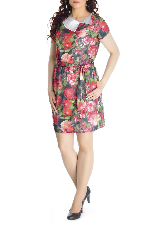 ПлатьеПлатья<br>Очаровательное платье прямого силуэта, выполнено из высококачественного вискозного трикотажного полотна с модным 3D эффектом. Платье двухслойное, состоит из вискозной ткани и сетки, с точностью, повторяющей рисунок нижней ткани. При движении сетка колеблется, за счет чего и возникает эффект объемности и глубины принта. Платье прямого силуэта с цельнокроеным рукавом и карманами в боковых швах. Отлетной воротник выполнен из декоративной ткани. Удачно подобранная ткань не мнется, не деформируется при стирке, а значит это платье прослужит вам не один сезон. Красочное, обращающее на себя внимание платье с эффектом 3D обязательно должно быть в гардеробе каждой модницы.  Платье без пояса.  Длина изделия 90-95 см.  В изделии использованы цвета: черный, коралловый, зеленый и др.  Рост девушки-фотомодели 170 см<br><br>Воротник: Отложной<br>По длине: До колена<br>По материалу: Гипюровая сетка,Трикотаж<br>По образу: Город,Свидание<br>По рисунку: Растительные мотивы,С принтом,Цветные,Цветочные<br>По силуэту: Полуприталенные<br>По стилю: Повседневный стиль<br>По форме: Платье - футляр<br>По элементам: С карманами<br>Рукав: Короткий рукав<br>По сезону: Лето<br>Размер : 44,46,48,50,52<br>Материал: Холодное масло + Гипюровая сетка<br>Количество в наличии: 5