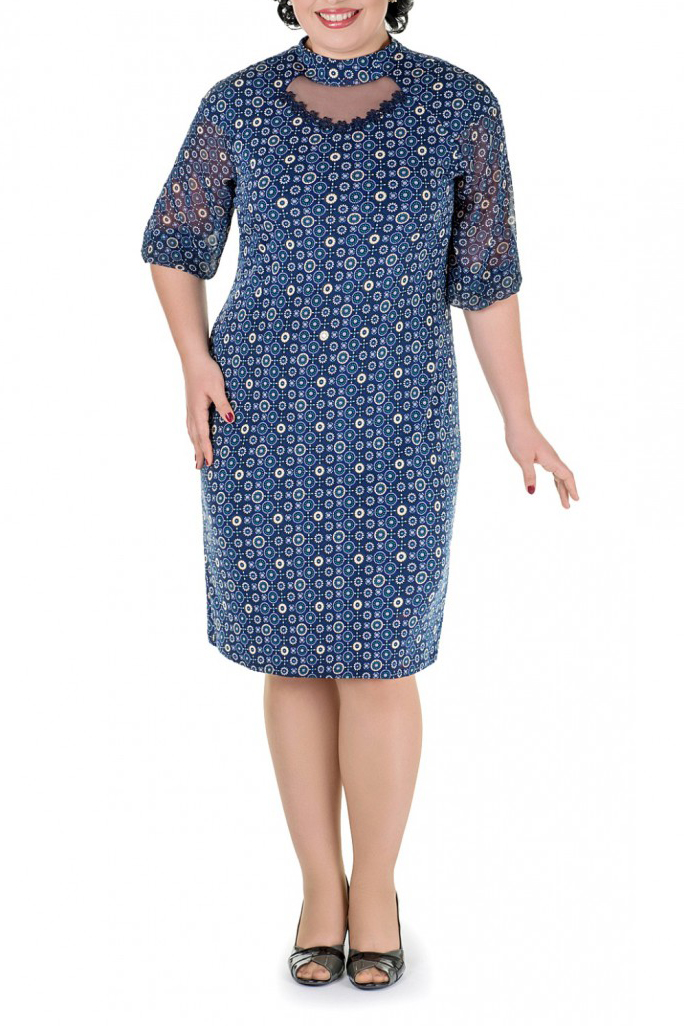 ПлатьеПлатья<br>Нарядное платье с рукавами 3/4. Модель выполнена из приятного материала. Отличный выбор для любого случая.   В изделии использованы цвета: синий, голубой и др.  Параметры размеров: 44 размер - обхват груди 84 см., обхват талии 72 см., обхват бедер 97 см. 46 размер - обхват груди 92 см., обхват талии 76 см., обхват бедер 100 см. 48 размер - обхват груди 96 см., обхват талии 80 см., обхват бедер 103 см. 50 размер - обхват груди 100 см., обхват талии 84 см., обхват бедер 106 см. 52 размер - обхват груди 104 см., обхват талии 88 см., обхват бедер 109 см. 54 размер - обхват груди 110 см., обхват талии 94,5 см., обхват бедер 114 см. 56 размер - обхват груди 116 см., обхват талии 101 см., обхват бедер 119 см. 58 размер - обхват груди 122 см., обхват талии 107,5 см., обхват бедер 124 см. 60 размер - обхват груди 128 см., обхват талии 114 см., обхват бедер 129 см.  Ростовка изделия 168 см.<br><br>Воротник: Стойка<br>По длине: Ниже колена<br>По материалу: Тканевые<br>По рисунку: С принтом,Цветные<br>По сезону: Весна,Зима,Лето,Осень,Всесезон<br>По силуэту: Полуприталенные<br>По стилю: Нарядный стиль<br>По элементам: С декором<br>Рукав: Рукав три четверти<br>Размер : 52,56<br>Материал: Плательная ткань + Шифон<br>Количество в наличии: 2