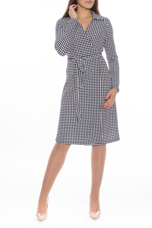 ПлатьеПлатья<br>Красивое платье на запах. Модель выполнена из приятного материала. Отличный выбор для любого случая. Платье без пояса.  Длина   по спинке 44 размер - 104 см 46 размер - 105 см 48 размер - 106 см 50 размер - 107 см 52 размер - 108 см 54 размер - 109 см  Длина рукава 44 размер - 61 см 46 размер - 61 см 48 размер - 61 см 50 размер - 61 см 52 размер - 62 см  Цвет: белый, черный<br><br>Горловина: V- горловина,Запах<br>По длине: До колена<br>По материалу: Трикотаж<br>По образу: Город,Офис,Свидание<br>По рисунку: С принтом,Цветные<br>По силуэту: Полуприталенные<br>По стилю: Офисный стиль,Повседневный стиль<br>По форме: Платье - трапеция<br>Рукав: Рукав три четверти<br>По сезону: Осень,Весна<br>Размер : 44,46,48,50,52,54<br>Материал: Трикотаж<br>Количество в наличии: 1