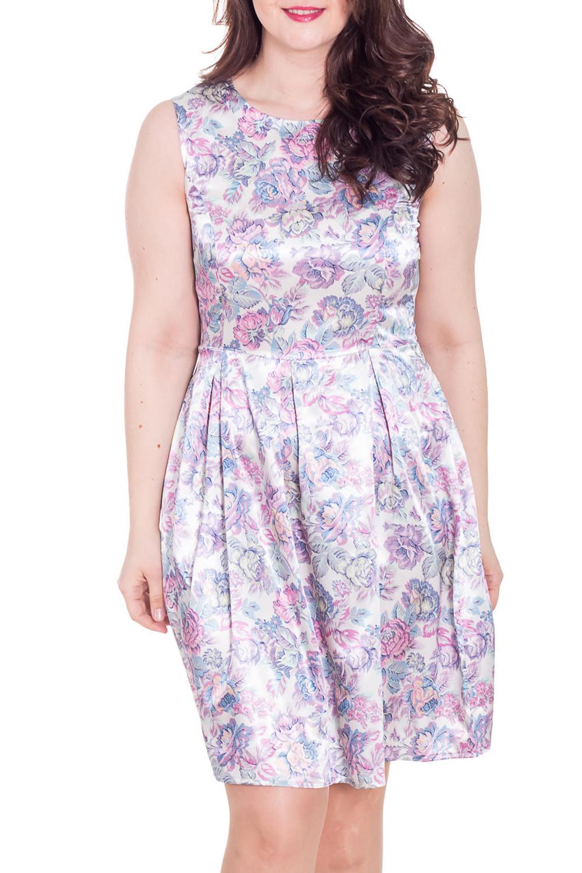 ПлатьеПлатья<br>Восхитительное платье без рукавов. Модель выполнена из гладкого атласа. Отличный выбор для любого случая.  Цвет: белый, розовый, сиреневый, голубой  Рост девушки-фотомодели 180 см.<br><br>Горловина: С- горловина<br>По длине: До колена<br>По материалу: Атлас<br>По образу: Свидание<br>По рисунку: Растительные мотивы,С принтом,Цветные,Цветочные<br>По сезону: Лето<br>По силуэту: Полуприталенные<br>По стилю: Нарядный стиль,Повседневный стиль,Романтический стиль<br>Рукав: Без рукавов<br>По элементам: Со складками<br>По форме: Платье - тюльпан<br>Размер : 50<br>Материал: Атлас<br>Количество в наличии: 1