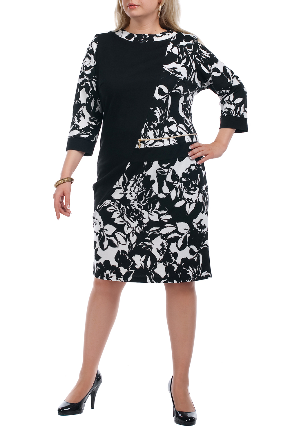 ПлатьеПлатья<br>Повседневное платье с круглой горловиной и рукавами 3/4. Модель выполнена из плотного трикотажа. Отличный выбор для повседневного гардероба.  Цвет: черный, белый  Рост девушки-фотомодели 173 см.<br><br>Горловина: С- горловина<br>По длине: Ниже колена<br>По материалу: Вискоза,Трикотаж<br>По рисунку: Абстракция,Цветные<br>По сезону: Весна,Осень,Зима<br>По силуэту: Полуприталенные<br>По стилю: Повседневный стиль<br>По форме: Платье - футляр<br>Рукав: Рукав три четверти<br>Размер : 52,54,56,62,64,66,68,70<br>Материал: Трикотаж<br>Количество в наличии: 21