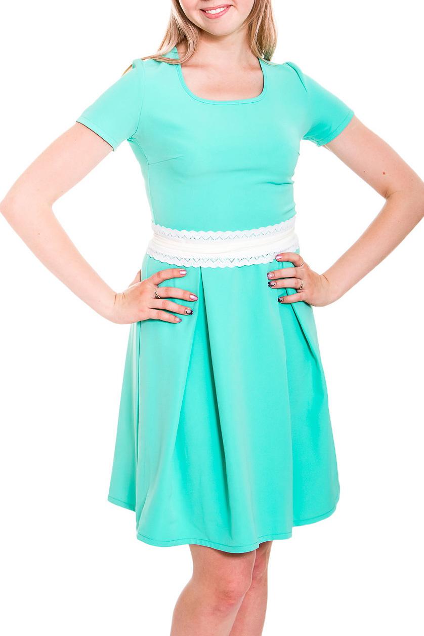 ПлатьеПлатья<br>Милое платье с круглой горловиной и короткими рукавами. Модель выполнена из приятного трикотажа. Отличный выбор для любого случая.  Платье без пояса.  Цвет: бирюзовый  Рост девушки-фотомодели 170 см<br><br>Горловина: С- горловина<br>По длине: До колена<br>По материалу: Вискоза,Тканевые<br>По рисунку: Однотонные<br>По силуэту: Приталенные<br>По стилю: Повседневный стиль,Летний стиль<br>По форме: Платье - трапеция<br>По элементам: Со складками,С декором<br>Рукав: Короткий рукав<br>По сезону: Лето<br>Размер : 44,46,48,50<br>Материал: Плательная ткань<br>Количество в наличии: 4