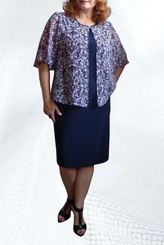 ПлатьеПлатья<br>Красивое платье с шифоновой накидкой. Модель полуприталенного силуэта из приятного трикотажа. Отличный вариант для любого случая.   В изделии использованы цвета: синий, белый, голубой  Ростовка изделия 170 см.<br><br>Горловина: С- горловина<br>По материалу: Трикотаж,Шифон,Вискоза<br>По рисунку: С принтом,Цветные<br>По сезону: Весна,Зима,Лето,Осень,Всесезон<br>По силуэту: Приталенные<br>По стилю: Нарядный стиль,Повседневный стиль<br>По форме: Платье - футляр<br>По длине: Ниже колена<br>Рукав: До локтя<br>Размер : 48,50<br>Материал: Холодное масло + Шифон<br>Количество в наличии: 3