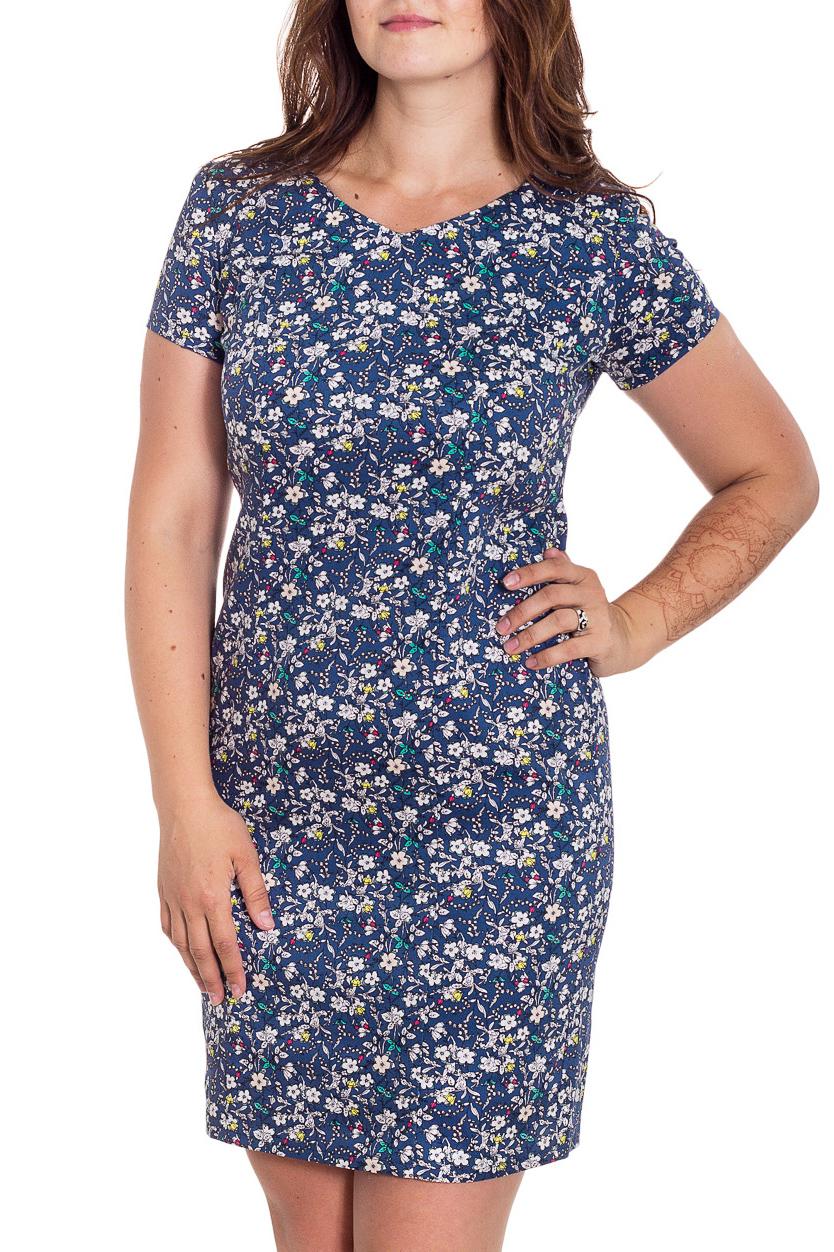 ПлатьеПлатья<br>Красивое платье в мелкий цветочек с короткими рукавами. Модель выполнена из приятного материала. Отличный выбор для любого случая.   В изделии использованы цвета: синий, белый и др.  Рост девушки-фотомодели 180 см<br><br>Горловина: V- горловина<br>По длине: До колена<br>По материалу: Вискоза,Тканевые<br>По образу: Город<br>По рисунку: Растительные мотивы,С принтом,Цветные,Цветочные<br>По силуэту: Приталенные<br>По стилю: Повседневный стиль<br>По форме: Платье - футляр<br>Рукав: Короткий рукав<br>По сезону: Лето<br>Размер : 48,50,52,54,58<br>Материал: Плательная ткань<br>Количество в наличии: 5