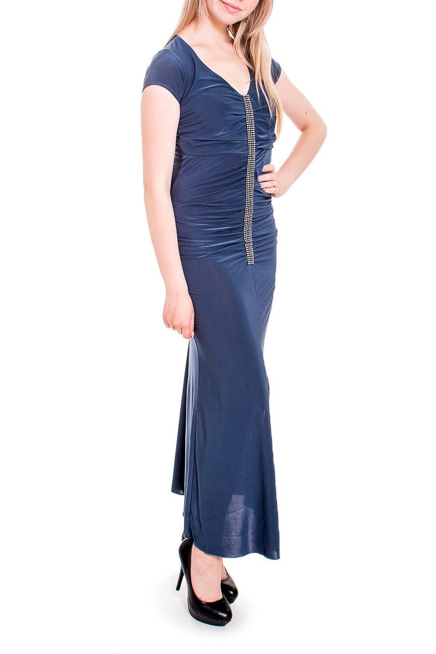 ПлатьеПлатья<br>Нарядное платье в пол обтягивающего силуэта. Модель выполнена из приятного трикотажа. Отличный выбор для любого случая.   Цвет: синий  Рост девушки-фотомодели 170 см<br><br>Горловина: С- горловина<br>По длине: Макси<br>По материалу: Трикотаж<br>По рисунку: Однотонные<br>По сезону: Весна,Зима,Лето,Осень,Всесезон<br>По силуэту: Обтягивающие<br>По стилю: Нарядный стиль<br>По форме: Платье - футляр<br>По элементам: С декором,Со складками<br>Рукав: Короткий рукав<br>Размер : 44,48,50<br>Материал: Холодное масло<br>Количество в наличии: 3