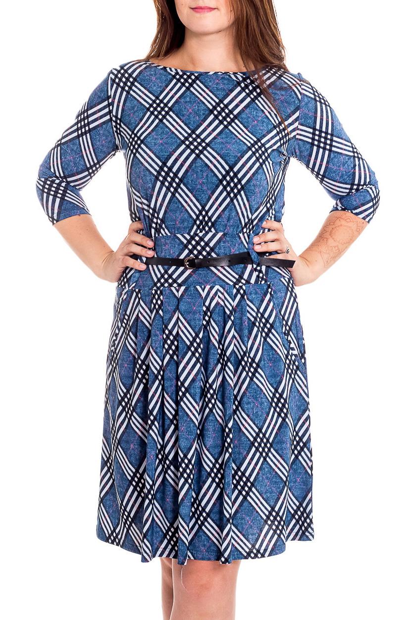 ПлатьеПлатья<br>Цветное платье с горловиной лодочка и рукавами 3/4. Модель выполнена из приятного трикотажа. Отличный выбор для повседневного гардероба. Платье без пояса.  В изделии использованы цвета: синий, белый и др.  Рост девушки-фотомодели 180 см<br><br>Горловина: Лодочка<br>По длине: До колена<br>По материалу: Вискоза,Трикотаж<br>По образу: Город<br>По рисунку: В горошек,С принтом,Цветные<br>По силуэту: Полуприталенные<br>По стилю: Повседневный стиль<br>По форме: Платье - трапеция<br>Рукав: Рукав три четверти<br>По сезону: Осень,Весна<br>Размер : 46,48,50,52,54<br>Материал: Холодное масло<br>Количество в наличии: 5
