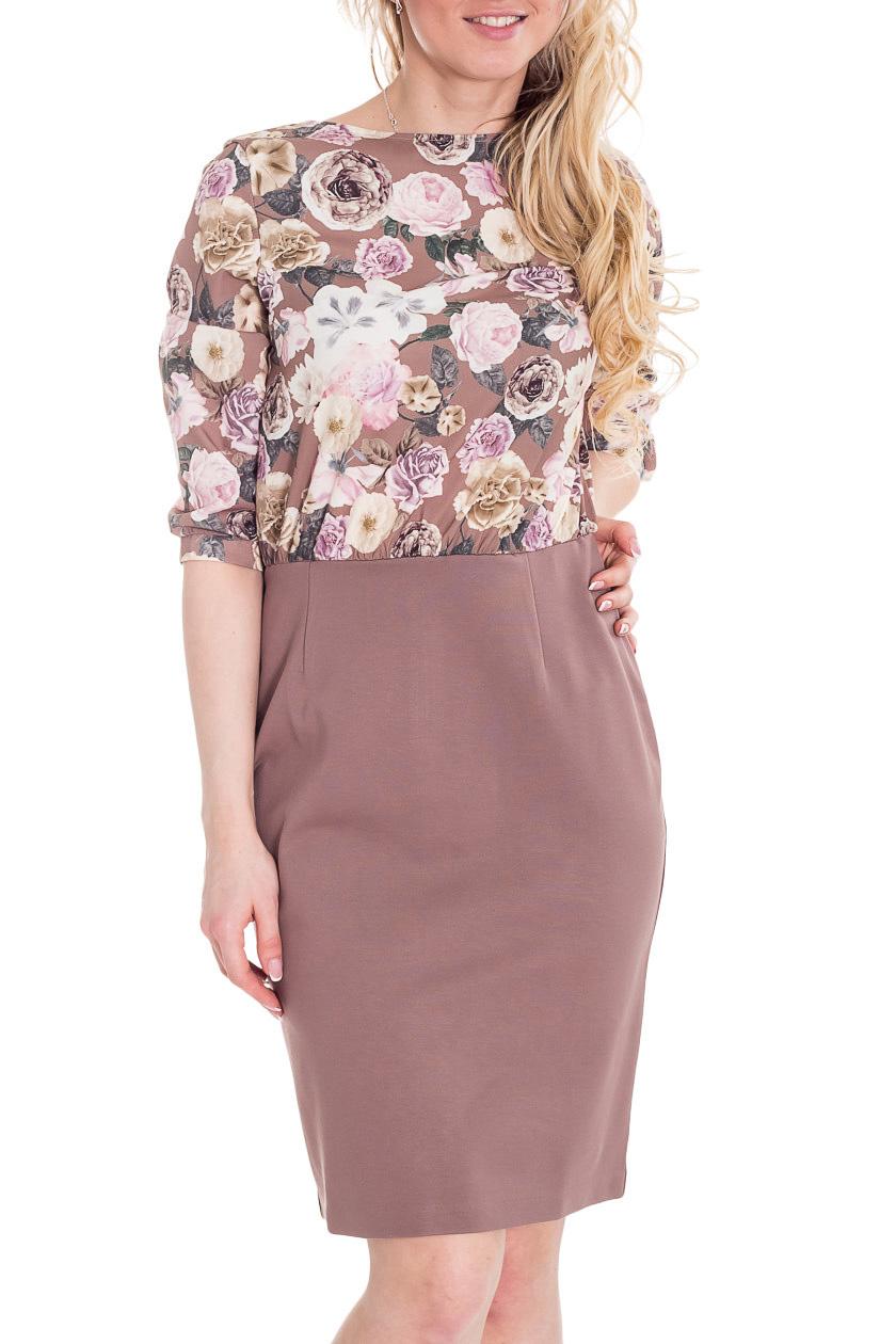 ПлатьеПлатья<br>Красивое платье с круглой горловиной и рукавами 3/4. Модель выполнена из приятного материала. Отличный выбор для повседневного гардероба.   Цвет: бежевый, белый, розовый  Рост девушки-фотомодели 170 см.<br><br>Горловина: С- горловина<br>По длине: До колена<br>По материалу: Тканевые<br>По рисунку: Растительные мотивы,С принтом,Цветные,Цветочные<br>По силуэту: Полуприталенные<br>По стилю: Повседневный стиль<br>По форме: Платье - футляр<br>По элементам: С разрезом<br>Разрез: Короткий<br>Рукав: Рукав три четверти<br>По сезону: Осень,Весна,Зима<br>Размер : 48<br>Материал: Плательная ткань<br>Количество в наличии: 1
