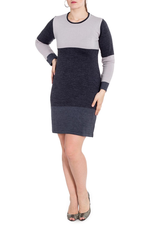 ПлатьеПлатья<br>Теплое платье с длинными рукавами. Вязаный трикотаж - это красота, тепло и комфорт. В вязаных вещах очень легко оставаться женственной и в то же время не замёрзнуть.  В изделии использованы цвета: серый, графитовый  Рост девушки-фотомодели 180 см<br><br>Горловина: С- горловина<br>По длине: До колена<br>По материалу: Вязаные,Трикотаж<br>По рисунку: Цветные<br>По силуэту: Приталенные<br>По стилю: Повседневный стиль<br>По форме: Платье - футляр<br>Рукав: Длинный рукав<br>По сезону: Зима<br>Размер : 48,50,52,54<br>Материал: Вязаное полотно<br>Количество в наличии: 9