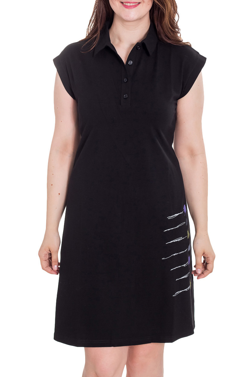 ПлатьеПлатья<br>Однотонное платье с короткими рукавами и рубашечным воротником. Модель выполнена из приятного трикотажа. Отличный выбор для повседневного гардероба.  Цвет: черный  Рост девушки-фотомодели 180 см<br><br>Воротник: Рубашечный<br>По материалу: Вискоза<br>По рисунку: Однотонные<br>По сезону: Весна,Лето<br>По силуэту: Полуприталенные<br>По стилю: Повседневный стиль<br>По элементам: С разрезом<br>Разрез: Короткий<br>Рукав: Короткий рукав<br>По длине: До колена<br>По форме: Платье - трапеция<br>Размер : 44,46,50<br>Материал: Вискоза<br>Количество в наличии: 3
