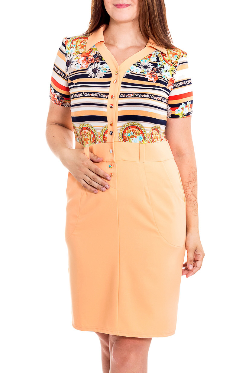 ПлатьеПлатья<br>Цветное платье с имитацией однотонной юбки и блузки. Модель выполнена из приятного трикотажа. Отличный выбор для повседневного гардероба.  В изделии использованы цвета: бежевый и др.  Рост девушки-фотомодели 180 см<br><br>Воротник: Рубашечный<br>По длине: До колена<br>По материалу: Вискоза,Трикотаж<br>По рисунку: В полоску,Растительные мотивы,С принтом,Цветные,Этнические<br>По силуэту: Приталенные<br>По стилю: Повседневный стиль<br>По форме: Платье - футляр<br>По элементам: С отделочной фурнитурой,С разрезом<br>Разрез: Короткий,Шлица<br>Рукав: Короткий рукав<br>По сезону: Осень,Весна<br>Размер : 48,50,52,54,56<br>Материал: Трикотаж<br>Количество в наличии: 5
