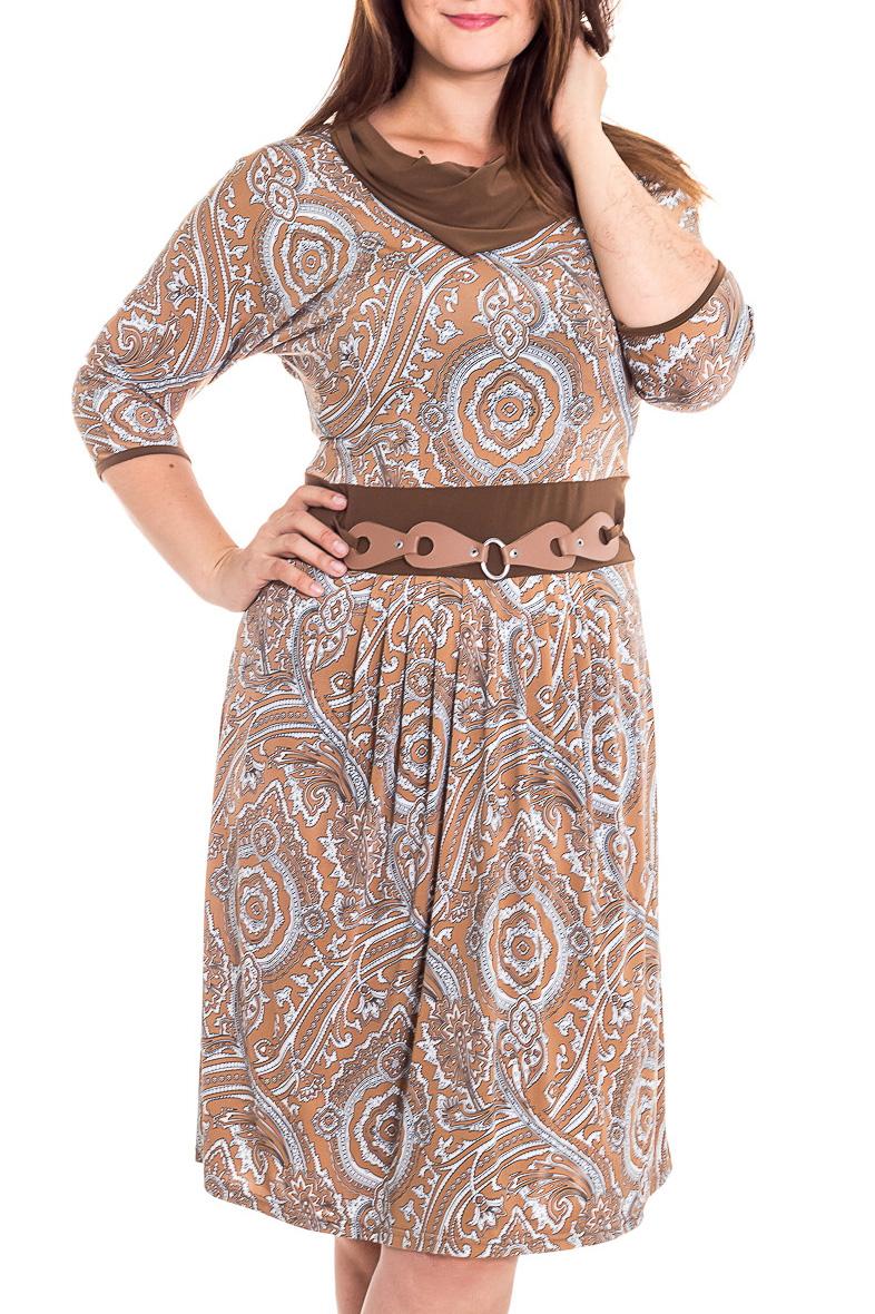 ПлатьеПлатья<br>Красивое платье с объемным воротником и рукавами 3/4. Модель выполнена из приятного трикотажа. Отличный выбор для любого случая.  В изделии использованы цвета: бежевый, голубой и др.  Рост девушки-фотомодели 180 см<br><br>Воротник: Хомут<br>По длине: До колена<br>По материалу: Вискоза,Трикотаж<br>По образу: Город,Свидание<br>По рисунку: С принтом,Цветные,Этнические<br>По силуэту: Приталенные<br>По стилю: Повседневный стиль<br>По форме: Платье - трапеция<br>По элементам: С декором<br>Рукав: Рукав три четверти<br>По сезону: Осень,Весна<br>Размер : 48<br>Материал: Холодное масло<br>Количество в наличии: 1