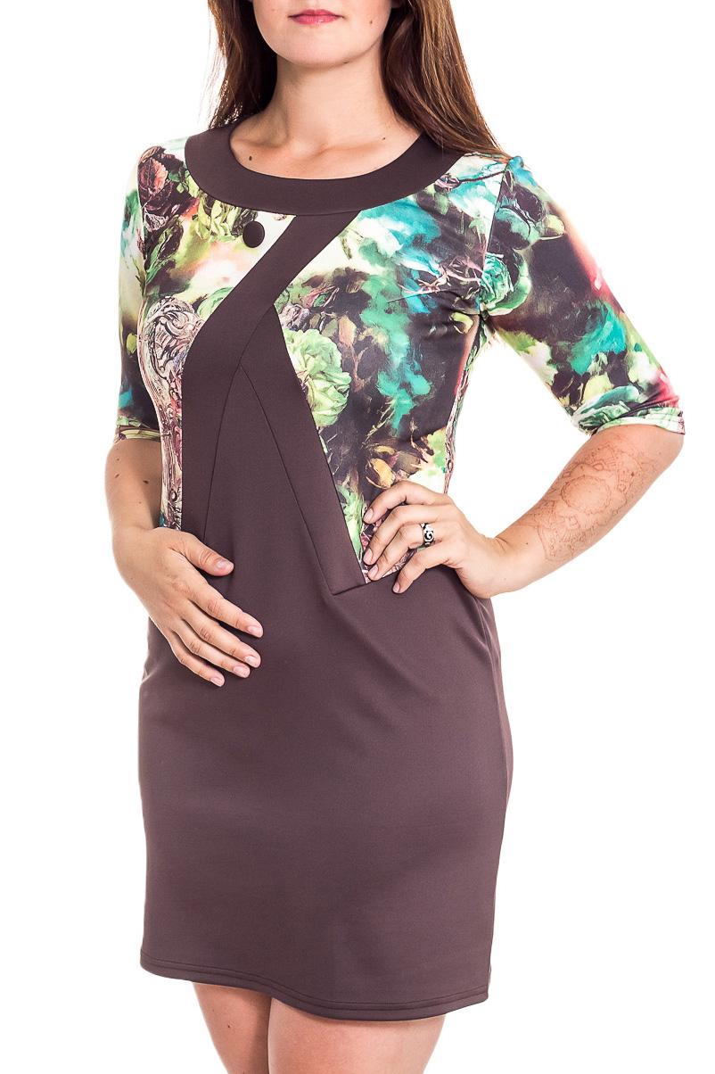 ПлатьеПлатья<br>Красивое платье с имитацией жакета. Модель выполнена из приятного трикотажа. Отличный выбор для любого случая.  В изделии использованы цвета: коричневый, зеленый, белый и др.  Рост девушки-фотомодели 180 см<br><br>Горловина: С- горловина<br>По длине: До колена<br>По материалу: Вискоза,Трикотаж<br>По рисунку: Растительные мотивы,С принтом,Цветные,Цветочные<br>По силуэту: Полуприталенные<br>По стилю: Повседневный стиль<br>По форме: Платье - футляр<br>Рукав: Рукав три четверти<br>По сезону: Осень,Весна,Зима<br>Размер : 50,52,56<br>Материал: Трикотаж<br>Количество в наличии: 3