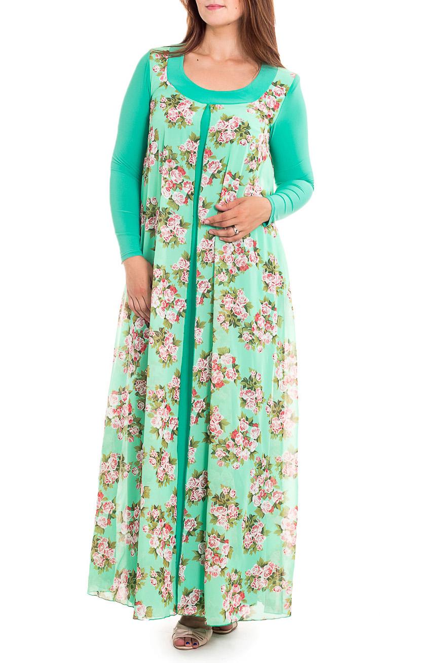ПлатьеПлатья<br>Нарядное платье с имитацией накидки. Модель выполнена из приятного трикотажа и шифона. Отличный выбор для любого случая.   В изделии использованы цвета: ментоловый, розовый и др.  Рост девушки-фотомодели 180 см<br><br>Горловина: С- горловина<br>По длине: Макси<br>По материалу: Трикотаж,Шифон<br>По рисунку: Растительные мотивы,С принтом,Цветные,Цветочные<br>По сезону: Весна,Зима,Лето,Осень,Всесезон<br>По силуэту: Полуприталенные<br>По стилю: Нарядный стиль<br>По форме: Платье - трапеция<br>Рукав: Длинный рукав<br>Размер : 48,50<br>Материал: Холодное масло + Шифон<br>Количество в наличии: 2