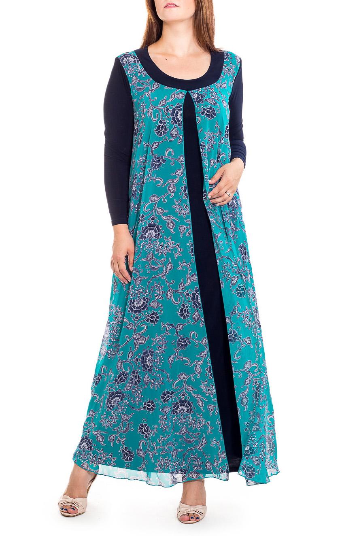 ПлатьеПлатья<br>Нарядное платье с имитацией накидки. Модель выполнена из приятного трикотажа и шифона. Отличный выбор для любого случая.   В изделии использованы цвета: синий, голубой и др.  Рост девушки-фотомодели 180 см<br><br>Горловина: С- горловина<br>По длине: Макси<br>По материалу: Трикотаж,Шифон<br>По образу: Свидание<br>По рисунку: С принтом,Цветные<br>По сезону: Весна,Зима,Лето,Осень,Всесезон<br>По силуэту: Полуприталенные<br>По стилю: Нарядный стиль<br>По форме: Платье - трапеция<br>Рукав: Длинный рукав<br>Размер : 56<br>Материал: Холодное масло + Шифон<br>Количество в наличии: 1