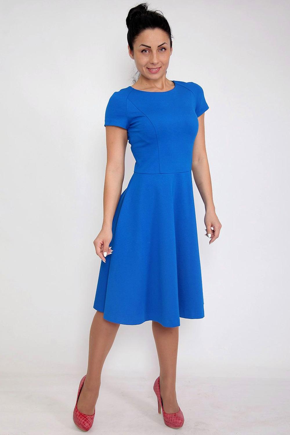 ПлатьеПлатья<br>Элегантное женское платье с круглой горловиной и короткими рукавами. Модель выполнена из приятного материала. Отличный выбор для повседневного и делового гардероба.  Цвет: синий  Ростовка изделия 164 см.<br><br>По образу: Свидание,Город,Офис<br>По стилю: Офисный стиль,Повседневный стиль<br>По материалу: Тканевые<br>По рисунку: Однотонные<br>По сезону: Осень,Весна<br>По силуэту: Полуприталенные<br>По форме: Платье - трапеция<br>По длине: Ниже колена<br>Рукав: Короткий рукав<br>Горловина: С- горловина<br>Размер: 46,48,50<br>Материал: 60% вискоза 35% нейлон 5% лайкра<br>Количество в наличии: 2