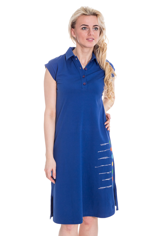 ПлатьеПлатья<br>Однотонное платье с короткими рукавами и рубашечным воротником. Модель выполнена из приятного трикотажа. Отличный выбор для повседневного гардероба.  Цвет: синий  Рост девушки-фотомодели 170 см<br><br>По образу: Город,Свидание<br>По стилю: Повседневный стиль<br>По материалу: Вискоза<br>По рисунку: Однотонные<br>По сезону: Весна,Лето<br>По силуэту: Полуприталенные<br>По элементам: С разрезом<br>По длине: Ниже колена<br>Воротник: Рубашечный<br>Рукав: Короткий рукав<br>Разрез: Короткий<br>Размер: 44,46,48<br>Материал: 96% вискоза 4% эластан<br>Количество в наличии: 2