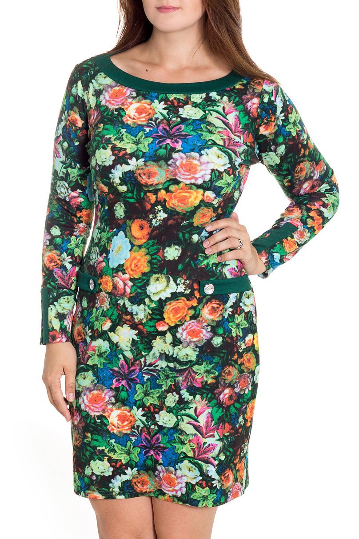 ПлатьеПлатья<br>Это прелестное женское платье станет изумительным вариантом повседневного или выходного наряда. Цветочный принт украсит любую леди. Горловина лодочка и длинные рукава.  В изделии использованы цвета: зеленый и др.  Рост девушки-фотомодели 180 см<br><br>Горловина: Лодочка<br>По длине: До колена<br>По материалу: Трикотаж,Вискоза<br>По рисунку: Растительные мотивы,С принтом,Цветные,Цветочные<br>По силуэту: Приталенные<br>По стилю: Повседневный стиль<br>По форме: Платье - футляр<br>Рукав: Длинный рукав<br>По сезону: Осень,Весна,Зима<br>По элементам: С декором<br>Размер : 46,50,52<br>Материал: Джерси<br>Количество в наличии: 3