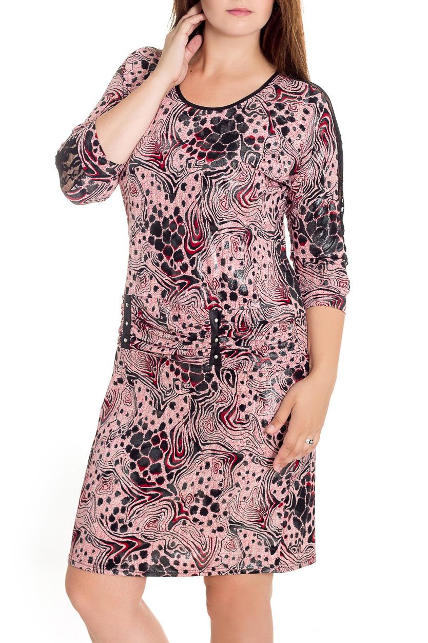 ПлатьеПлатья<br>Гармоничное женское платье приталенного силуэта с округлой горловиной и рукавами 3/4. Модель станет идеальным дополнением к Вашему повседневному гардеробу.  В изделии использованы цвета: розовый, черный и др.  Рост девушки-фотомодели 180 см<br><br>Горловина: С- горловина<br>По длине: До колена<br>По материалу: Трикотаж<br>По рисунку: Абстракция,С принтом,Цветные<br>По силуэту: Полуприталенные,Приталенные<br>По стилю: Повседневный стиль<br>По форме: Платье - футляр<br>По элементам: С манжетами<br>Рукав: Рукав три четверти<br>По сезону: Осень,Весна<br>Размер : 48<br>Материал: Холодное масло<br>Количество в наличии: 1