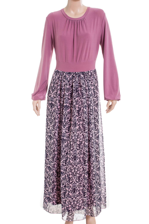ПлатьеПлатья<br>Это очаровательное платье станет изумительным вариантом повседневного или выходного наряда. Оригинальный принт украсит любую леди. Изумительно садясь по фигуре, это платье маскирует ее проблемные зоны.  Цвет: розовый и др.  Ростовка изделия 170 см<br><br>Горловина: С- горловина<br>По длине: Макси<br>По материалу: Вискоза,Трикотаж,Шифон<br>По рисунку: С принтом,Цветные<br>По сезону: Весна,Лето,Осень<br>По силуэту: Полуприталенные<br>По стилю: Повседневный стиль,Романтический стиль,Нарядный стиль<br>По элементам: С подкладом<br>Рукав: Длинный рукав<br>По форме: Платье - трапеция<br>Размер : 48<br>Материал: Холодное масло + Шифон<br>Количество в наличии: 1