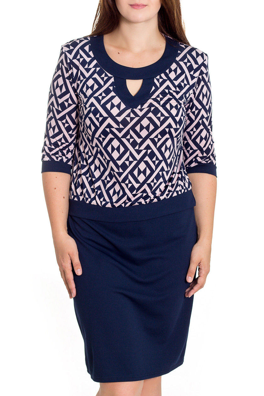 ПлатьеПлатья<br>Элегантное и женственное платье с заниженной линией талии, которое подойдет любому типу фигуры, выполненное из приятного телу трикотажа. Округлая горловина, рукава 3/4.  Цвет: синий и др.  Рост девушки-фотомодели 180 см<br><br>Горловина: С- горловина<br>По длине: Ниже колена<br>По материалу: Трикотаж<br>По образу: Город,Офис,Свидание<br>По рисунку: Абстракция,С принтом,Цветные,В клетку<br>По силуэту: Полуприталенные<br>По стилю: Кэжуал,Офисный стиль,Повседневный стиль<br>По форме: Платье - футляр<br>По элементам: С декором,С заниженной талией,С манжетами<br>Рукав: Рукав три четверти<br>По сезону: Осень,Весна<br>Размер : 48,50,52,58,60<br>Материал: Трикотаж + Холодное масло<br>Количество в наличии: 5