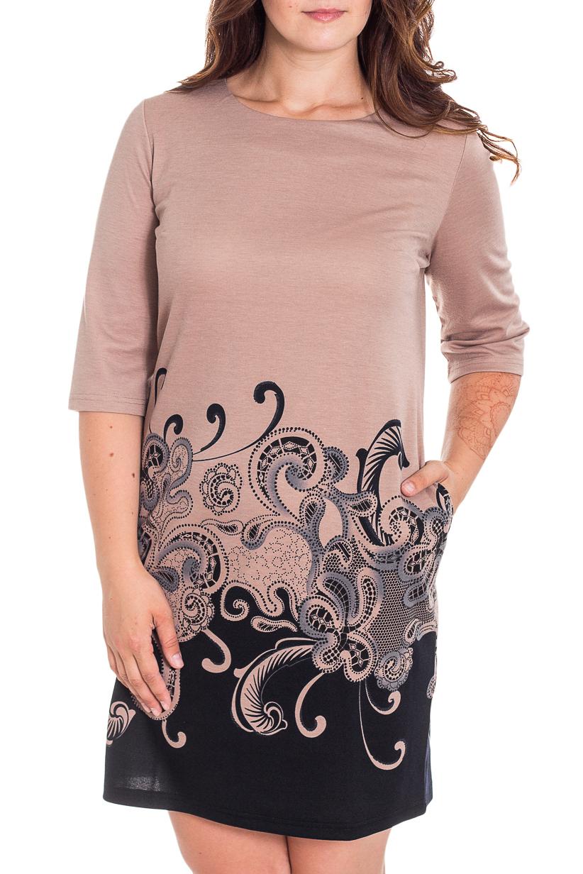 ПлатьеПлатья<br>Универсальное платье футлярного типа. Модель выполнена из приятного трикотажа. Отличный выбор для повседневного гардероба.  В изделии использованы цвета: бежевый, черный, серый  Рост девушки-фотомодели 180 см.<br><br>Горловина: С- горловина<br>По длине: До колена<br>По материалу: Трикотаж,Шерсть<br>По рисунку: С принтом,Цветные<br>По силуэту: Приталенные<br>По стилю: Повседневный стиль<br>По форме: Платье - футляр<br>Рукав: Рукав три четверти<br>По сезону: Осень,Весна,Зима<br>Размер : 46,50,52<br>Материал: Джерси<br>Количество в наличии: 3