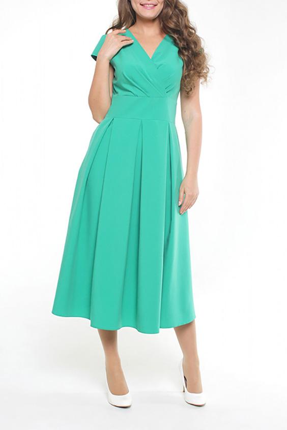 ПлатьеПлатья<br>Женское платье расклешенного от талии силуэта, который подчеркивает все достоинства женской фигуры. Приятная мягкая хлопковая ткань, великолепная расцветка, расположенные по кругу мягкие веерные складки, элегантно драпированный запах на груди - всё это неотъемлемые атрибуты прекрасного настроения и великолепного внешнего вида.  Цвет: бирюзовый  Рост девушки-фотомодели 170 см<br><br>Горловина: V- горловина,Запах<br>По длине: Ниже колена<br>По материалу: Тканевые,Хлопок<br>По рисунку: Однотонные<br>По силуэту: Прямые<br>По стилю: Нарядный стиль,Повседневный стиль<br>По форме: Платье - трапеция<br>По элементам: Со складками<br>Рукав: Короткий рукав<br>По сезону: Лето<br>Размер : 44<br>Материал: Плательная ткань<br>Количество в наличии: 1