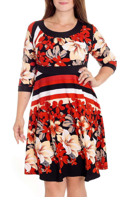 ПлатьеПлатья<br>Женственное платье силуэта трапеция с округлой горловиной и рукавами 3/4. Цветочный принт украсит любую леди. Изумительно садясь по фигуре, это платье маскирует ее проблемные зоны.  В изделии использованы цвета: темно-синий, красный, белый и др.  Рост девушки-фотомодели 180 см<br><br>Горловина: С- горловина<br>По длине: До колена<br>По материалу: Трикотаж<br>По рисунку: Растительные мотивы,С принтом,Цветные,Цветочные<br>По стилю: Повседневный стиль<br>По форме: Платье - трапеция<br>По элементам: С манжетами<br>Рукав: Рукав три четверти<br>По сезону: Осень,Весна,Зима<br>По силуэту: Приталенные<br>Размер : 46,48,50<br>Материал: Трикотаж<br>Количество в наличии: 3