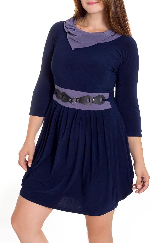 ПлатьеПлатья<br>Женственное платье с асимметричным низом станет изюминкой Вашего гардероба. Побалуйте себя этой великолепной покупкой Рукава 3/4.  В изделии использованы цвета: синий, сиреневый.  Рост девушки-фотомодели 180 см.<br><br>Воротник: Фантазийный<br>По длине: До колена<br>По материалу: Трикотаж<br>По рисунку: Однотонные<br>По силуэту: Приталенные<br>По стилю: Повседневный стиль<br>По форме: Платье - трапеция<br>По элементам: С декором,Со складками<br>Рукав: Рукав три четверти<br>По сезону: Осень,Весна<br>Размер : 44,46,50<br>Материал: Холодное масло<br>Количество в наличии: 3