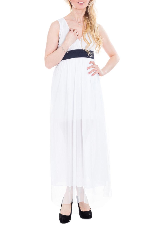 ПлатьеСарафаны<br>Элегантное и женственное платье, которое подойдет любому типу фигуры, выполненное из струящегося материала. Платье на подкладе.  Цвет: белый.  Рост девушки-фотомодели 170 см<br><br>Бретели: Широкие бретели<br>Горловина: V- горловина,Запах<br>По длине: Макси<br>По материалу: Гипюровая сетка<br>По рисунку: Однотонные<br>По силуэту: Полуприталенные,Приталенные<br>По стилю: Греческий стиль,Летний стиль,Повседневный стиль,Романтический стиль<br>По элементам: С вырезом,С декором,С завышенной талией,С подкладом<br>Рукав: Без рукавов<br>По сезону: Лето<br>Размер : 48<br>Материал: Гипюровая сетка<br>Количество в наличии: 1