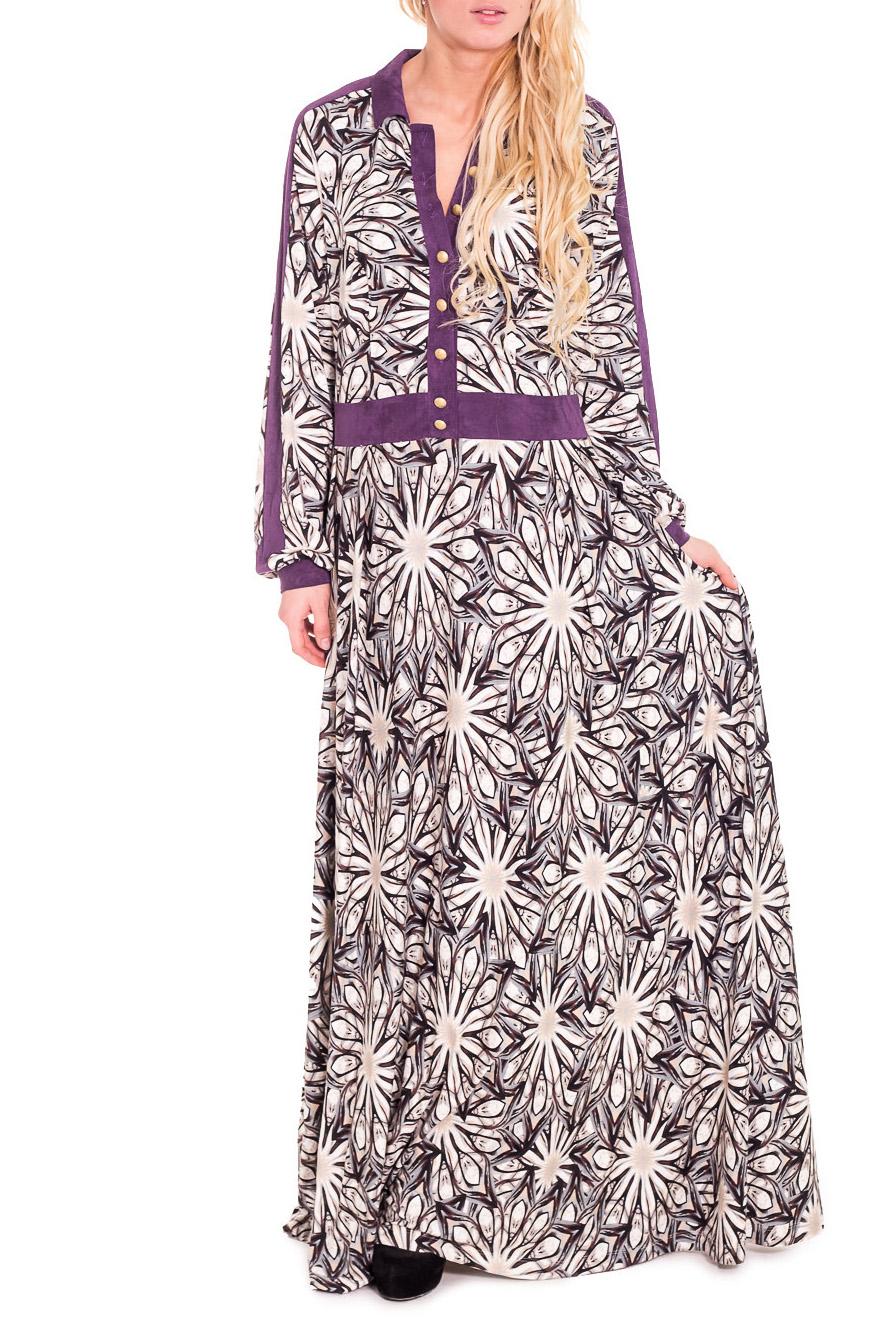 ПлатьеПлатья<br>Чудесное платье в пол. Модель выполнена из мягкой вискозы. По манжету, поясу и передней планке использован искусственная замша. Отличный выбор для любого случая.  Цвет: белый, черный, сиреневый  Рост девушки-фотомодели 170 см.<br><br>Воротник: Отложной<br>По длине: Макси<br>По материалу: Вискоза,Замша,Трикотаж<br>По рисунку: Растительные мотивы,Цветные,Цветочные<br>По сезону: Весна,Осень,Зима<br>По силуэту: Полуприталенные<br>По стилю: Повседневный стиль<br>По форме: Платье - трапеция<br>Рукав: Длинный рукав<br>Размер : 46<br>Материал: Вискоза<br>Количество в наличии: 1