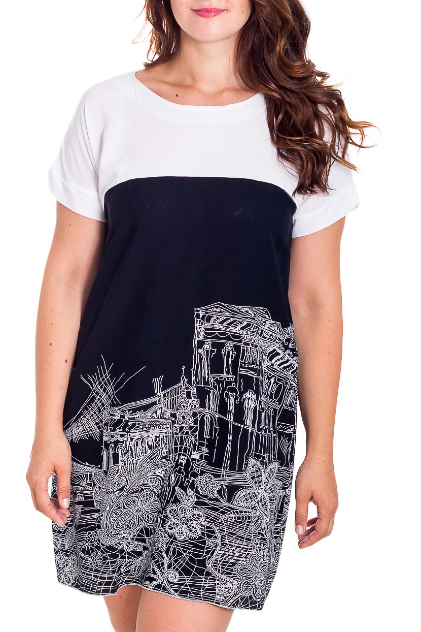 ПлатьеПлатья<br>Удобное платье полуприталенного силуэта. Модель выполнена из натурального хлопка. Отличный выбор для повседневного гардероба.  В изделии использованы цвета: белый, синий  Рост девушки-фотомодели 180 см.<br><br>Горловина: С- горловина<br>По длине: До колена<br>По материалу: Хлопок<br>По образу: Город<br>По рисунку: С принтом,Цветные<br>По силуэту: Полуприталенные<br>По стилю: Повседневный стиль<br>По форме: Платье - трапеция<br>Рукав: Короткий рукав<br>По сезону: Лето<br>Размер : 46,50,56<br>Материал: Хлопок<br>Количество в наличии: 4