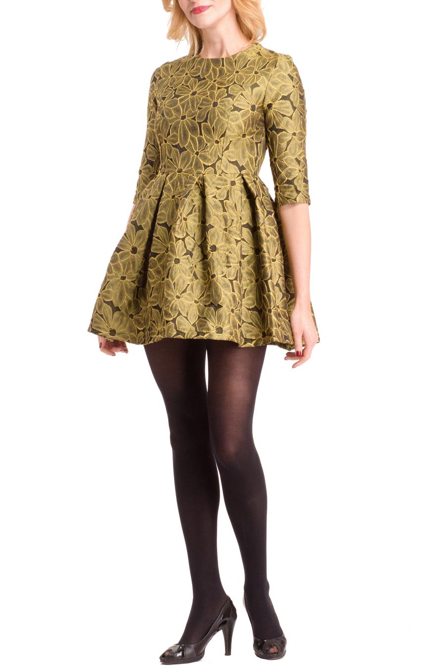 ПлатьеПлатья<br>Нарядное платье с завышенной талией. Модель выполнена из приятного материала с цветочным принтом. Отличный выбор для любого случая.  Цвет: желтый  Ростовка изделия 170 см.<br><br>Горловина: С- горловина<br>По материалу: Тканевые<br>По образу: Свидание<br>По рисунку: Растительные мотивы,С принтом,Цветные,Цветочные<br>По сезону: Весна,Зима,Лето,Осень,Всесезон<br>По силуэту: Приталенные<br>По стилю: Нарядный стиль,Повседневный стиль,Молодежный стиль<br>По форме: Беби - долл<br>По элементам: Со складками<br>Рукав: До локтя<br>По длине: Мини<br>Размер : 44,46<br>Материал: Плательная ткань<br>Количество в наличии: 2