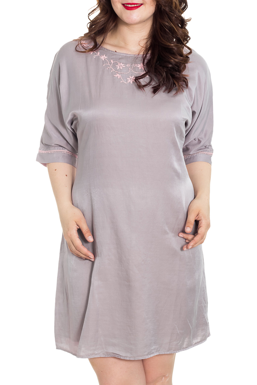 Платье-туникаПлатья<br>Роскошное платье из приятного шелкового материала. Отличный выбор для любого случая. Платье с подкладом.  Цвет: розово-серый  Рост девушки-фотомодели 180 см.<br><br>Горловина: С- горловина<br>По длине: До колена<br>По материалу: Шелк<br>По рисунку: Однотонные<br>По сезону: Весна,Лето,Осень<br>По силуэту: Свободные<br>По стилю: Повседневный стиль<br>По элементам: С подкладом,Отделка строчкой,С декором<br>Рукав: Рукав три четверти<br>По форме: Платье - трапеция<br>Размер : 44,46,48,50,54,60,64,68<br>Материал: Шелк<br>Количество в наличии: 22