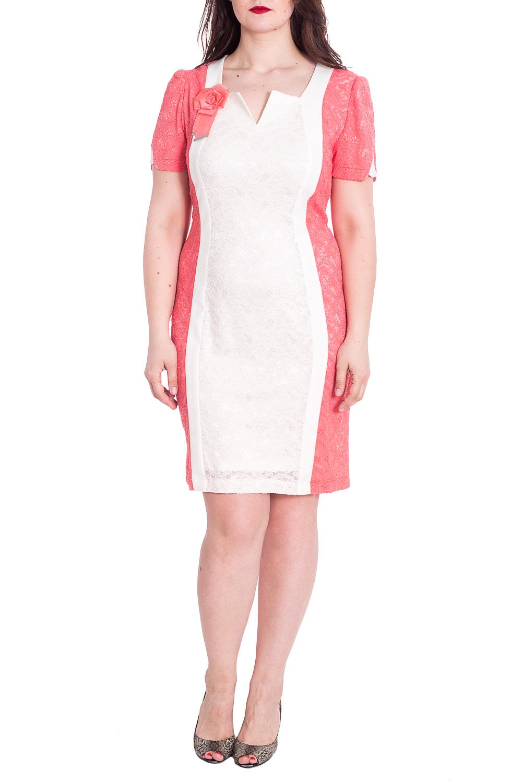ПлатьеПлатья<br>Приталенное платье с фигурной горловиной и короткими рукавами. Модель выполнена из фактурного гипюра. Отличный выбор для любого случая.  В изделии использованы цвета: белый, коралловый  Рост девушки-фотомодели 180 см<br><br>Горловина: Фигурная горловина<br>По длине: До колена<br>По материалу: Гипюр<br>По рисунку: Цветные<br>По сезону: Весна,Зима,Лето,Осень,Всесезон<br>По силуэту: Приталенные<br>По стилю: Нарядный стиль<br>По форме: Платье - футляр<br>По элементам: С декором<br>Рукав: Короткий рукав<br>Размер : 58<br>Материал: Гипюр<br>Количество в наличии: 1