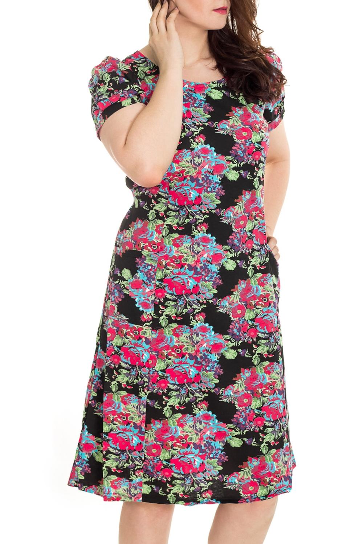 ПлатьеПлатья<br>Цветное платье с короткими рукавами. Домашняя одежда, прежде всего, должна быть удобной, практичной и красивой. В наших изделиях Вы будете чувствовать себя комфортно, особенно, по вечерам после трудового дня.  Цвет: черный, мультицвет  Рост девушки-фотомодели 180 см<br><br>Горловина: С- горловина<br>По рисунку: Растительные мотивы,Цветные,Цветочные,С принтом<br>По сезону: Весна,Осень,Лето<br>По силуэту: Полуприталенные<br>По форме: Платья<br>Рукав: Короткий рукав<br>По длине: До колена<br>По материалу: Трикотаж,Хлопок<br>Размер : 46,48,50,52,54,56<br>Материал: Трикотаж<br>Количество в наличии: 91