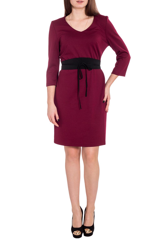 ПлатьеПлатья<br>Универсальное платье с рукавами 3/4. Модель выполнена из приятного трикотажа. Отличный выбор для повседневного и делового гардероба. Платье без пояса.  Цвет: бордовый  Рост девушки-фотомодели 173 см<br><br>Горловина: V- горловина<br>По длине: До колена<br>По материалу: Вискоза,Трикотаж<br>По рисунку: Однотонные<br>По силуэту: Приталенные<br>По стилю: Классический стиль,Офисный стиль,Повседневный стиль<br>По форме: Платье - футляр<br>Рукав: Рукав три четверти<br>По сезону: Осень,Весна,Зима<br>Размер : 46,48,50,52<br>Материал: Трикотаж<br>Количество в наличии: 5