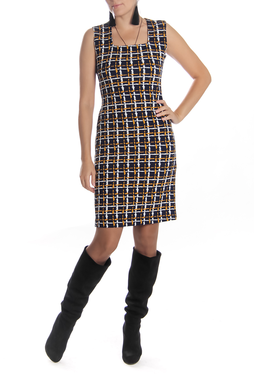 ПлатьеПлатья<br>Офисное женское платье без рукавов с квадратной горловиной. Модель выполнена из плотного трикотажа в клеточку. Отличный выбор для повседневного и делового гардероба. Платье можно ность с водолазками и рубашками.  Длина изделия: 44 размер 98 см 46 размер 100 см 48 размер 102 см 50 размер 105 см 52 размер 105 см 54 размер 105 см  Цвет: черный, белый, желтый<br><br>Горловина: Квадратная горловина<br>По длине: До колена<br>По материалу: Вискоза,Трикотаж<br>По рисунку: Геометрия,Цветные,В клетку<br>По сезону: Весна,Осень<br>По силуэту: Полуприталенные<br>По стилю: Офисный стиль,Повседневный стиль<br>По форме: Платье - футляр<br>Рукав: Без рукавов<br>Размер : 44<br>Материал: Трикотаж<br>Количество в наличии: 1