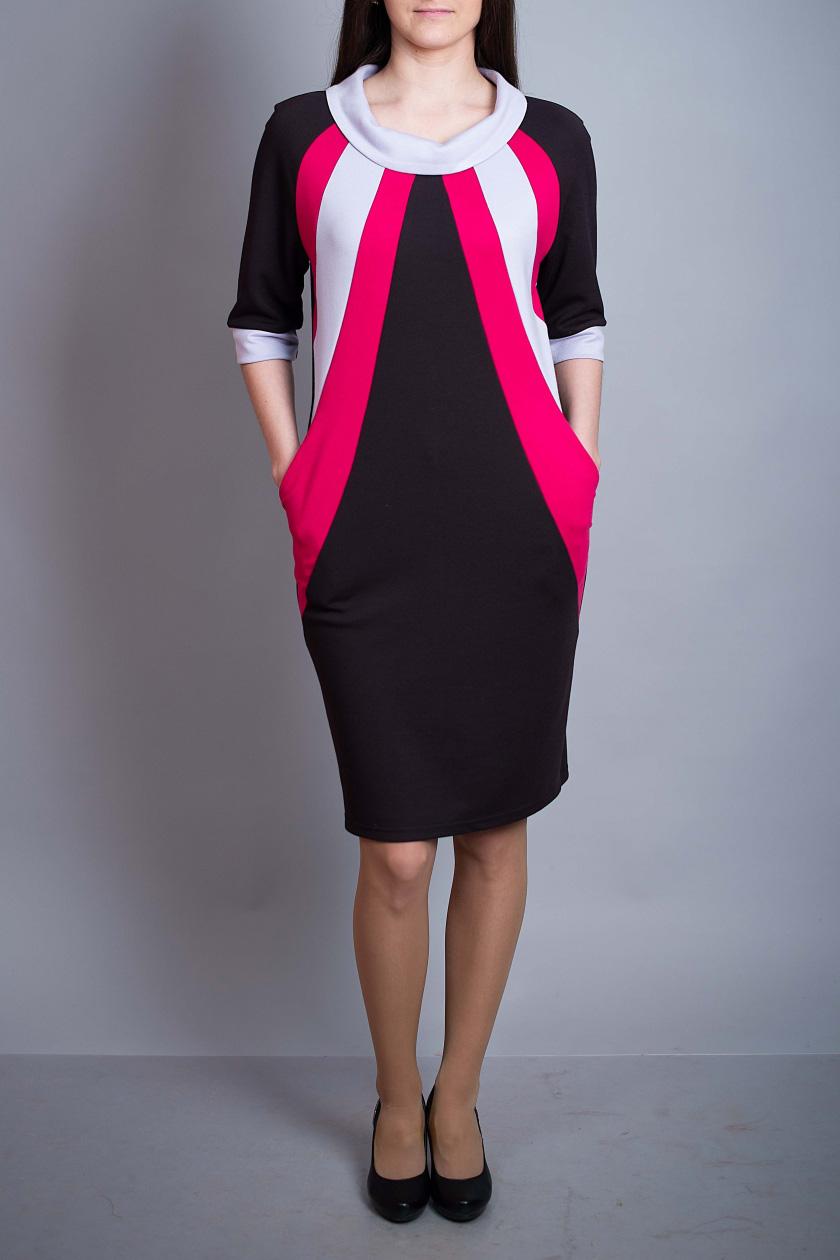 ПлатьеПлатья<br>Цветное платье с рукавами 3/4. Модель выполнена из приятного материала. Отличный выбор для повседневного гардероба.  В изделии использованы цвета: темно-коричневый, розовый, белый и др.  Ростовка изделия 170 см.<br><br>Воротник: Стойка<br>По длине: До колена<br>По материалу: Вискоза,Трикотаж<br>По рисунку: Цветные<br>По силуэту: Полуприталенные<br>По стилю: Повседневный стиль<br>По форме: Платье - футляр<br>По элементам: С карманами,С манжетами<br>Рукав: Рукав три четверти<br>По сезону: Осень,Весна,Зима<br>Размер : 46,48,50<br>Материал: Джерси<br>Количество в наличии: 3